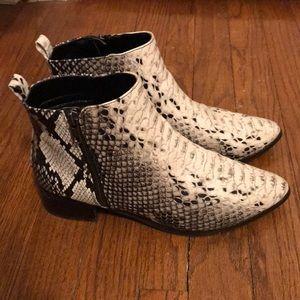 ASOS snake skin ankle booties